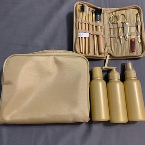 Other - NWOT travel kit with makeup bag and bottles
